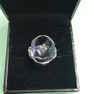 HUGE Iolite stone in sterling artist wire setting